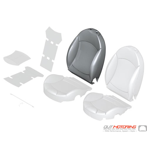 """Sports Backrest Cover: Right: """"Lounge"""" Leather: Satellite Grey"""