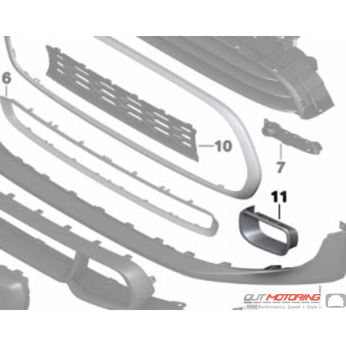 Brake Duct Trim: Chrome: Left: F55/6/7