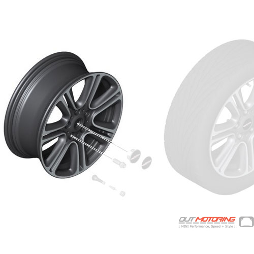 Disk Wheel Twin Spoke R135: Light Alloy Rim: Gloss Black