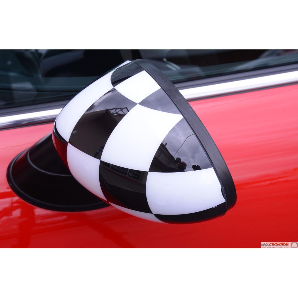 Mini Cooper Checkered Flag Mirror Covers Stick On Gen1