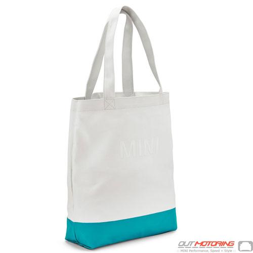 Shopping Tote: White/Aqua