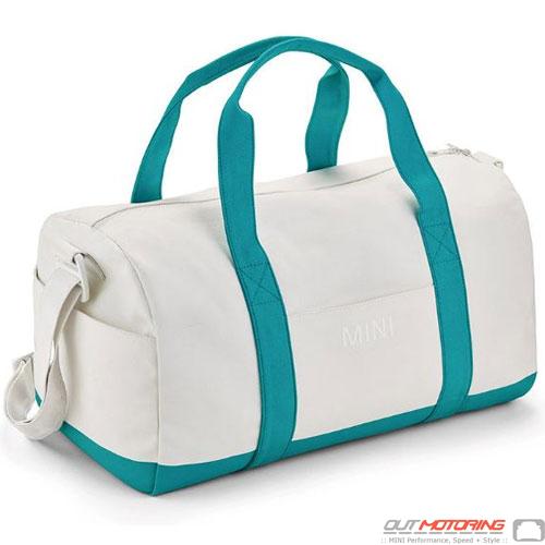 Duffle Bag: White/Aqua