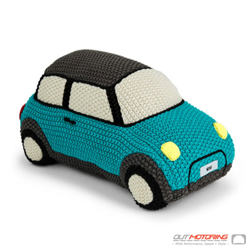 Knitted Car Toy: Aqua/Black