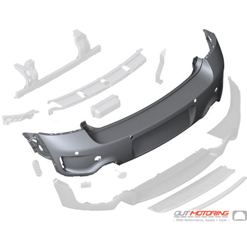 Bumper Trim Panel: Primed: Rear: JCW