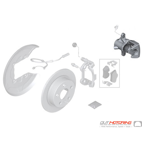 Rear Brake Caliper Housing: JCW Right