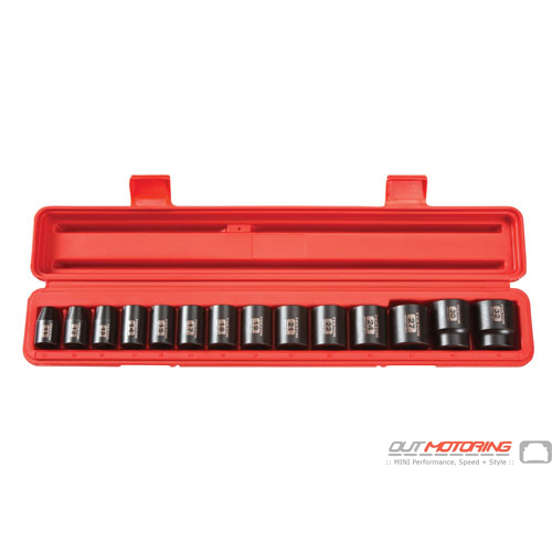 1/2 Inch Drive Shallow 6-Point Impact Socket Set: 14-Piece Metric