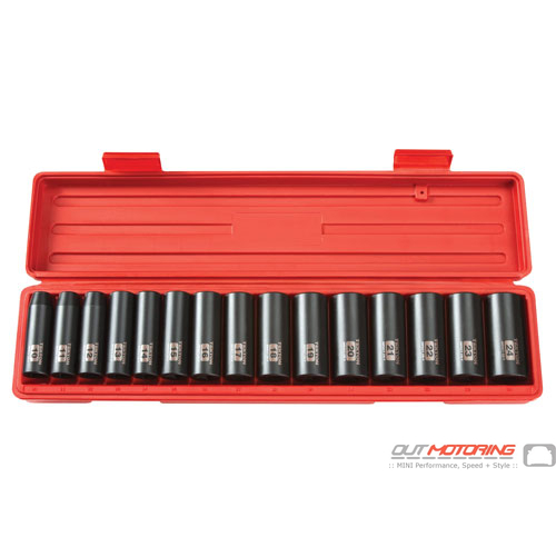 1/2 Inch Drive Deep 6-Point Impact Socket Set: 15-Piece Metric