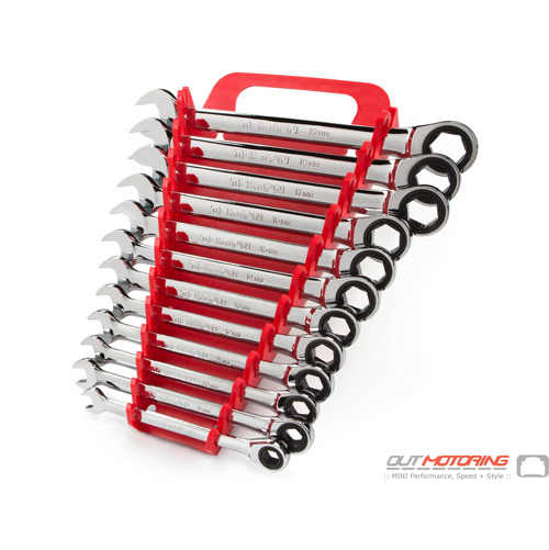 Ratcheting Combination Wrench Set: 12-Piece: 8-19 mm