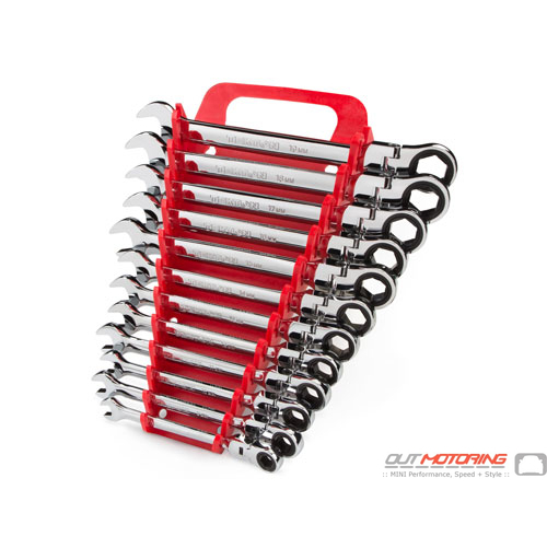 Flex Ratcheting Combination Wrench Set: 12-Piece: 8-19 mm