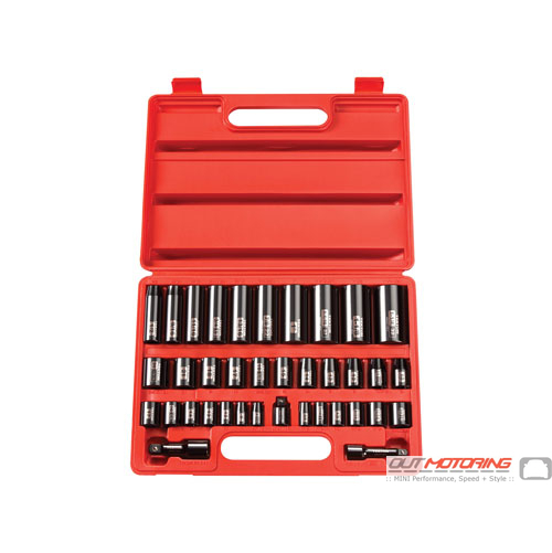 3/8, 1/2 Inch Drive 6-Point Impact Socket Set: 38-Piece