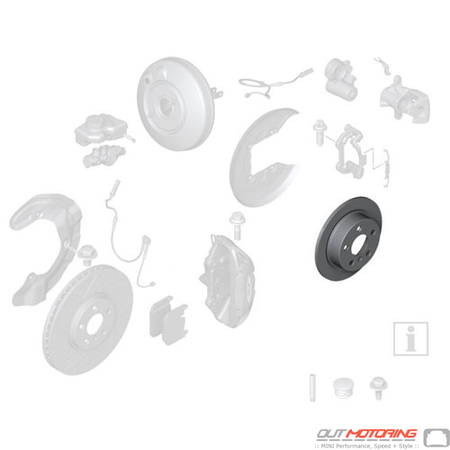 Brake Rotor: Ventilated: Drilled: Rear: JCW