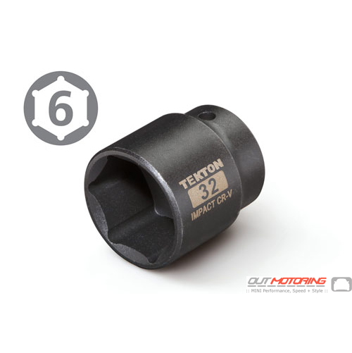 32mm Shallow 6 Point Oil Filter Cover Removal Socket