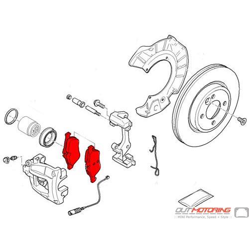 Brake Pads: Front: R50/2/3: Bosch