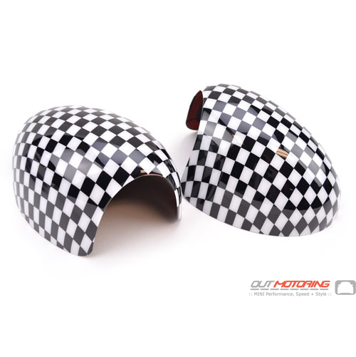 Side Mirror Covers: Gen1 Stick-on: Small Checkered Flag