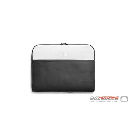 Mini Color Block Laptop Sleeve-Black/White