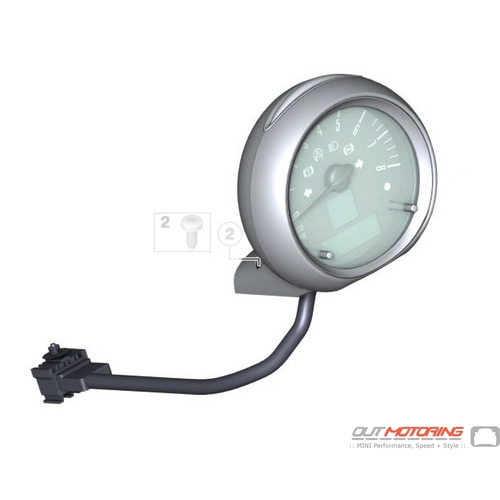 Steering Column Tachometer: Silver USED