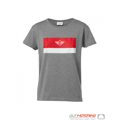 MINI Color Block Wing Logo Women's T-Shirt-Grey/Coral/White